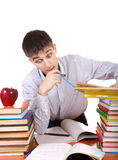 Adolescente che prepara per l'esame Immagine Stock
