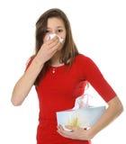 Adolescente com alergia ou frio Imagem de Stock Royalty Free