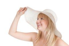 Adolescente com chapéu do sol fotos de stock