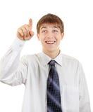 Adolescente com dedo acima Fotos de Stock