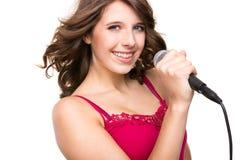 Adolescente com microfone Imagem de Stock Royalty Free