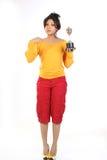 Adolescente com troféu do ouro imagem de stock