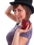Adolescente con Apple Fotos de archivo