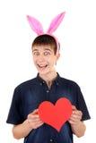 Adolescente con Bunny Ears y el corazón Imagen de archivo libre de regalías
