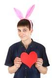 Adolescente con Bunny Ears y el corazón Fotos de archivo