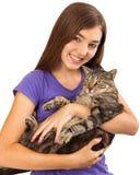 Adolescente con Cat Closeup Imagenes de archivo