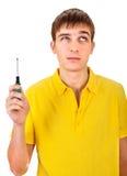 Adolescente con destornillador Fotografía de archivo