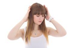 Adolescente con dolor de cabeza aislado en blanco Imagenes de archivo