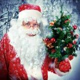 Adolescente con el árbol de navidad Imagenes de archivo