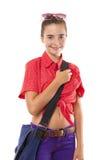 Adolescente con el bolso gafas de sol listas para ir a la escuela, isola Imagen de archivo