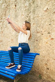 Adolescente con el carácter en Girona, España Fotos de archivo