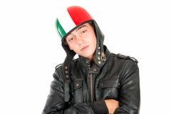 Adolescente con el casco Imagen de archivo libre de regalías