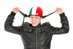 Adolescente con el casco Imagen de archivo