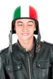 Adolescente con el casco Fotos de archivo