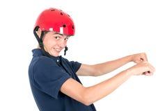 Adolescente con el casco Fotografía de archivo libre de regalías