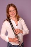 Adolescente con el clarinet Imagen de archivo libre de regalías