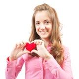 Adolescente con el corazón Fotografía de archivo