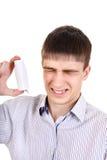 Adolescente con el inhalador Imagenes de archivo