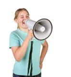 Adolescente con el megáfono Imagenes de archivo