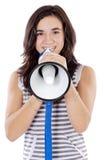 Adolescente con el megáfono Foto de archivo libre de regalías