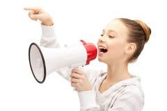 Adolescente con el megáfono Imagen de archivo libre de regalías