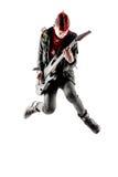 Adolescente con el mohawk rojo que salta mientras que toca la guitarra Foto de archivo libre de regalías