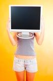 Adolescente con el monitor - 3 Imagenes de archivo