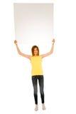 Adolescente con el panel blanco Imagen de archivo libre de regalías