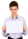 Adolescente con el papel en blanco Foto de archivo