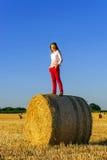 Adolescente con el pelo largo que presenta en el campo del verano, campo Fotos de archivo