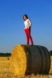 Adolescente con el pelo largo que presenta en el campo del verano, campo Imágenes de archivo libres de regalías