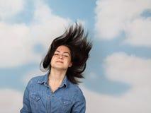 Adolescente con el pelo que fluye Fotografía de archivo libre de regalías