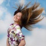 Adolescente con el pelo que fluye Fotos de archivo