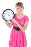 Adolescente con el reloj aislado sobre blanco Fotografía de archivo libre de regalías