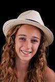 Adolescente con el sombrero amarillento Imágenes de archivo libres de regalías