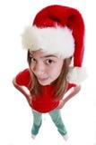 Adolescente con el sombrero de Navidad Imagen de archivo libre de regalías