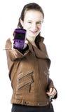 Adolescente con el teléfono celular Imagen de archivo libre de regalías