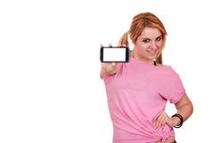 Adolescente con el teléfono elegante Fotos de archivo libres de regalías