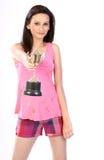Adolescente con el trofeo del oro Fotografía de archivo