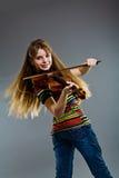 Adolescente con el violín Fotografía de archivo libre de regalías