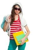 Adolescente con estilo con los libros Imagen de archivo libre de regalías
