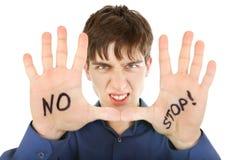 Adolescente con gesto de la denegación Imagen de archivo