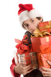 Adolescente con i regali Fotografia Stock
