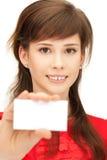 Adolescente con il biglietto da visita Fotografia Stock Libera da Diritti