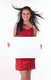 Adolescente con il cartello bianco fotografie stock