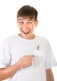 Adolescente con il distintivo vuoto Fotografia Stock