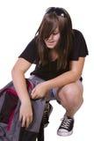 Adolescente con il suo zaino immagine stock