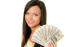 Adolescente con il wad dei dollari Fotografia Stock