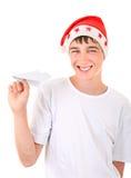 Adolescente con l'aereo di carta Immagine Stock Libera da Diritti