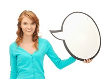 Adolescente con la burbuja en blanco del texto Fotos de archivo